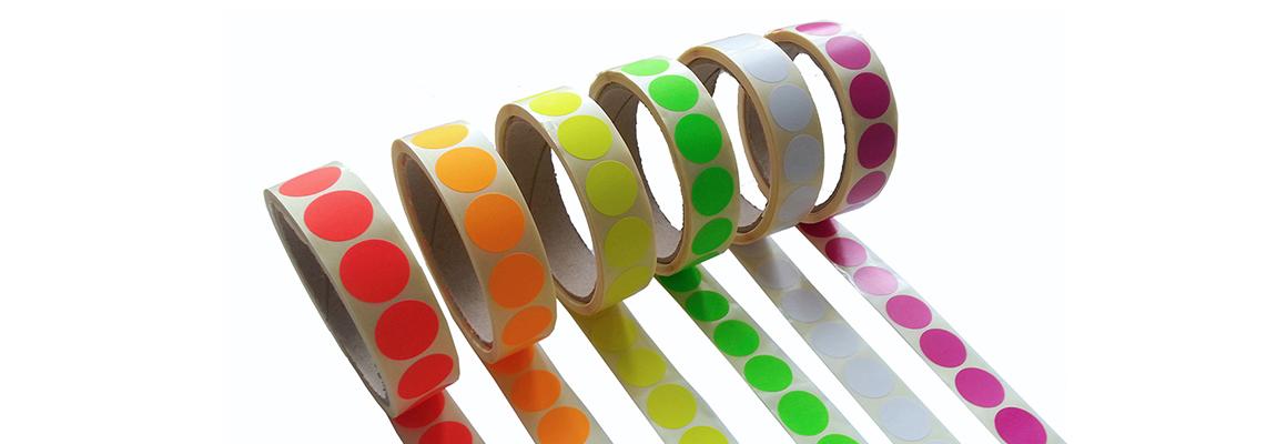 Markierungspunkte in 20 mm und 40 mm auf Rolle in Neonfarben